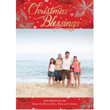 Christmas Photo Cards 5x7 Cards, Premium Cardstock 120lb with Scalloped Corners, Card & Stationery -Christmas Blessings Lettering