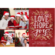 Christmas Photo Cards 5x7 Cards, Premium Cardstock 120lb with Rounded Corners, Card & Stationery -Christmas Love Hope Joy by Tumbalina