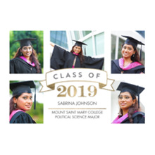2019 Graduation Announcements 5x7 Cards, Premium Cardstock 120lb with Rounded Corners, Card & Stationery -2019 Grad Class Banner by Tumbalina