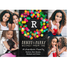 Christmas Photo Cards 5x7 Cards, Premium Cardstock 120lb with Elegant Corners, Card & Stationery -Bright and Merry Wreath
