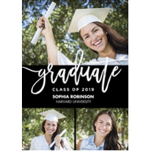 2019 Graduation Announcements 5x7 Cards, Premium Cardstock 120lb with Rounded Corners, Card & Stationery -Grad 2019 Handwritten by Tumbalina