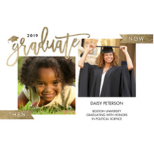 2019 Graduation Announcements 5x7 Cards, Premium Cardstock 120lb with Scalloped Corners, Card & Stationery -2019 Grad Now & Then by Tumbalina