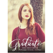 2019 Graduation Announcements 5x7 Cards, Premium Cardstock 120lb with Rounded Corners, Card & Stationery -Graduate Fancy Script by Tumbalina
