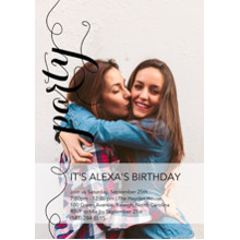 Birthday Party Invites 5x7 Cards, Premium Cardstock 120lb with Elegant Corners, Card & Stationery -Party in Script by Posh Paper
