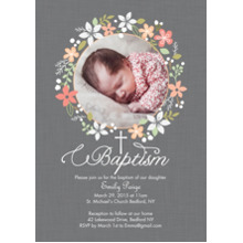 Christening + Baptism Flat Matte Photo Paper Cards with Envelopes, 5x7, Card & Stationery -Baptism Floral Wreath