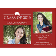 2019 Graduation Announcements 5x7 Cards, Premium Cardstock 120lb with Elegant Corners, Card & Stationery -Graduation Class of 2019 by Tumbalina