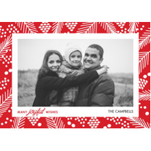 Christmas Photo Cards 5x7 Cards, Premium Cardstock 120lb with Rounded Corners, Card & Stationery -Festive Holly Frame