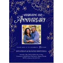 Anniversary Invitations 5x7 Cards, Premium Cardstock 120lb with Scalloped Corners, Card & Stationery -Gilded Botanicals