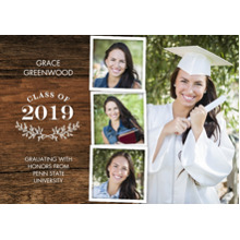 2019 Graduation Announcements 5x7 Cards, Premium Cardstock 120lb with Scalloped Corners, Card & Stationery -Grad 2019 Branches by Tumbalina