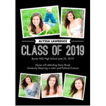 2019 Graduation Announcements 5x7 Cards, Premium Cardstock 120lb with Rounded Corners, Card & Stationery -Graduate Snapshots 2019 by Tumbalina