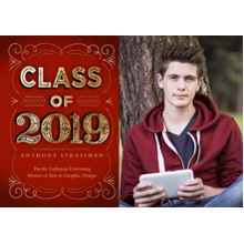 2019 Graduation Announcements 5x7 Cards, Premium Cardstock 120lb with Scalloped Corners, Card & Stationery -2019 Gold Swirls by Hallmark
