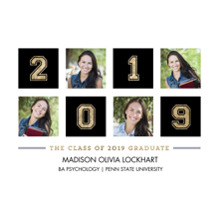 2019 Graduation Announcements 5x7 Cards, Premium Cardstock 120lb with Rounded Corners, Card & Stationery -Graduation Gold 2019 by Tumbalina
