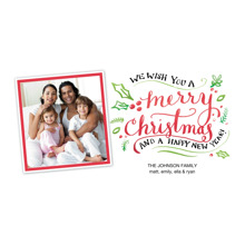 Christmas Photo Cards 4x8 Flat Card Set, 85lb, Card & Stationery -Christmas Script Tilted Snapshot