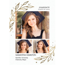 2019 Graduation Announcements 5x7 Cards, Premium Cardstock 120lb with Scalloped Corners, Card & Stationery -Grad 2019 Gold Leaves by Tumbalina
