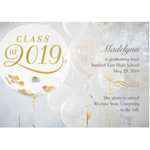 2019 Graduation Announcements 5x7 Cards, Premium Cardstock 120lb with Scalloped Corners, Card & Stationery -2019 Gold Balloons by Hallmark