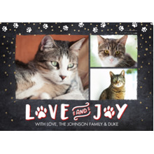 Christmas Photo Cards 5x7 Cards, Premium Cardstock 120lb with Scalloped Corners, Card & Stationery -Christmas Love and Joy Paws by Tumbalina