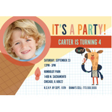 Birthday Party Invites 5x7 Cards, Premium Cardstock 120lb, Card & Stationery -Yum, Ice Cream! Invite