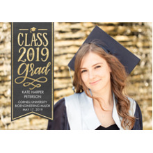 2019 Graduation Announcements 5x7 Cards, Premium Cardstock 120lb with Rounded Corners, Card & Stationery -Class of 2019 Gold by Tumbalina
