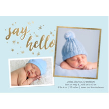 Baby Boy Announcements 5x7 Cards, Premium Cardstock 120lb with Rounded Corners, Card & Stationery -Baby Blue Stars