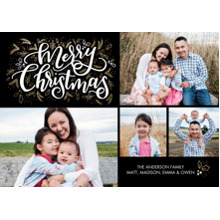 Christmas Photo Cards 5x7 Cards, Premium Cardstock 120lb with Rounded Corners, Card & Stationery -Christmas Script Foliage by Tumbalina