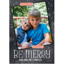 Christmas Photo Cards 5x7 Cards, Premium Cardstock 120lb with Scalloped Corners, Card & Stationery -Chalkboard and Washi Tape