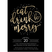 Christmas Party Invitations Flat Glossy Photo Paper Cards with Envelopes, 5x7, Card & Stationery -Holiday Invite Gold Script