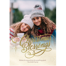 Christmas Photo Cards 5x7 Cards, Premium Cardstock 120lb with Rounded Corners, Card & Stationery -Golden Christmas Blessings