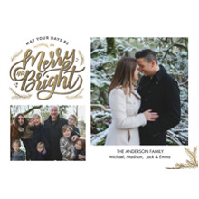 Christmas Photo Cards 5x7 Cards, Premium Cardstock 120lb with Elegant Corners, Card & Stationery -Christmas Merry & Bright Gold