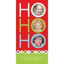 Christmas Photo Cards 4x8 Flat Card Set, 85lb, Card & Stationery -Posh Paper Ho Ho Ho Red