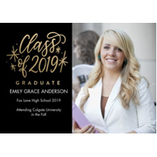 2019 Graduation Announcements 5x7 Cards, Premium Cardstock 120lb with Scalloped Corners, Card & Stationery -2019 Graduate Stars by Tumbalina