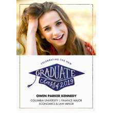 2019 Graduation Announcements 5x7 Cards, Premium Cardstock 120lb with Rounded Corners, Card & Stationery -2019 Grad Hat Lettering by Tumbalina