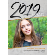 2019 Graduation Announcements 5x7 Cards, Premium Cardstock 120lb with Rounded Corners, Card & Stationery -2019 Gray & Gold by Hallmark