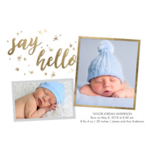 Baby Boy Announcements Flat Matte Photo Paper Cards with Envelopes, 5x7, Card & Stationery -Baby Gold Stars
