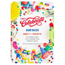 Birthday Party Invites 5x7 Cards, Premium Cardstock 120lb, Card & Stationery -Colorful Confetti Celebrate