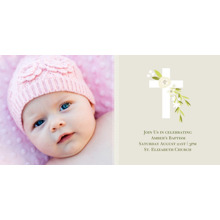 Christening + Baptism Flat Glossy Photo Paper Cards with Envelopes, 4x8, Card & Stationery -Botanical Cross