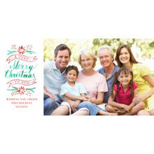 Christmas Photo Cards 4x8 Flat Card Set, 85lb, Card & Stationery -Floral Christmas Wishes