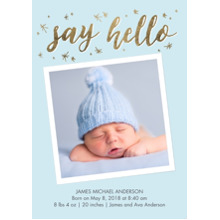 Baby Boy Announcements 5x7 Cards, Premium Cardstock 120lb with Scalloped Corners, Card & Stationery -Baby Blue Stars