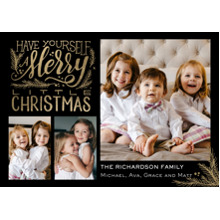 Christmas Photo Cards 5x7 Cards, Premium Cardstock 120lb with Rounded Corners, Card & Stationery -Christmas Merry Script Memories