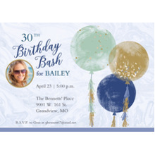 Birthday Party Invites 5x7 Cards, Premium Cardstock 120lb with Rounded Corners, Card & Stationery -Balloon Birthday Bash