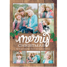 Christmas Photo Cards 5x7 Cards, Premium Cardstock 120lb with Rounded Corners, Card & Stationery -Christmas Script Merry