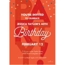 Birthday Party Invites 5x7 Cards, Premium Cardstock 120lb, Card & Stationery -Stacked Party Lettering