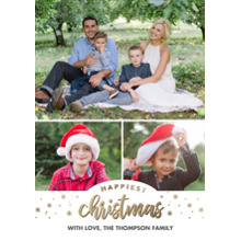 Christmas Photo Cards 5x7 Cards, Premium Cardstock 120lb with Elegant Corners, Card & Stationery -Christmas Happiest Gold Stars