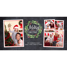 Christmas Photo Cards 4x8 Flat Card Set, 85lb, Card & Stationery -Christmas 2018 Painted Wreath by Tumbalina