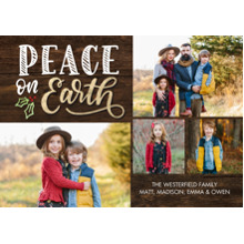 Christmas Photo Cards 5x7 Cards, Premium Cardstock 120lb with Rounded Corners, Card & Stationery -Christmas Peace on Earth Holly by Tumbalina