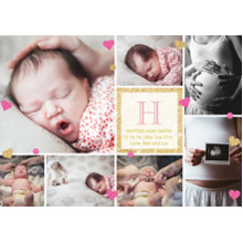Baby Announcements 5x7 Cards, Premium Cardstock 120lb with Scalloped Corners, Card & Stationery -Golden Monogram in Pink by Posh Paper