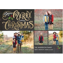 Christmas Photo Cards 5x7 Cards, Premium Cardstock 120lb with Elegant Corners, Card & Stationery -Christmas Very Merrry Gold Collage by Tumbalina