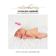 Baby Boy Announcements 5x7 Cards, Premium Cardstock 120lb with Rounded Corners, Card & Stationery -Baby Gold Introducing