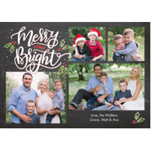Christmas Photo Cards 5x7 Cards, Premium Cardstock 120lb with Scalloped Corners, Card & Stationery -Christmas Merry & Bright Script by Tumbalina