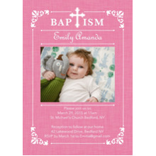 Christening + Baptism Flat Glossy Photo Paper Cards with Envelopes, 5x7, Card & Stationery -Baptism Ornate Frame