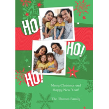 Christmas Photo Cards 5x7 Cards, Premium Cardstock 120lb with Elegant Corners, Card & Stationery -Ho! Ho! Ho! Green Snowflake